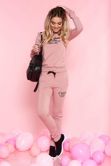 Set SunShine rosa casual cu maneci lungi din bumbac usor elastic cu buzunare