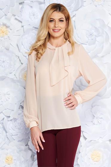 Bluza dama crem eleganta cu croi larg din voal cu maneci lungi