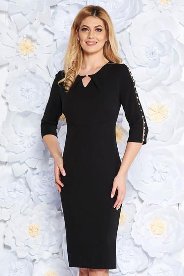 Rochie neagra eleganta tip creion din bumbac elastic cu maneci decupate cu aplicatii cu perle