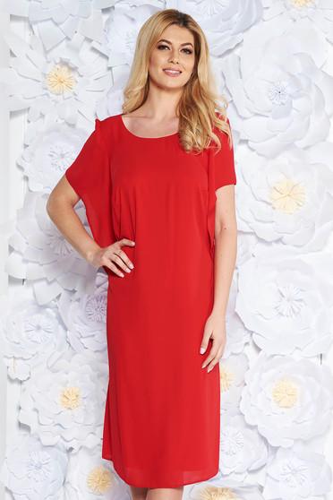 Rochie rosie eleganta cu croi larg din voal captusita pe interior cu maneci largi