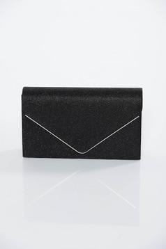 Geanta dama neagra tip plic de ocazie din tesatura metalica cu luciu