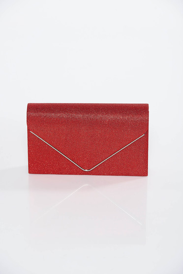 Geanta dama rosie tip plic de ocazie din tesatura metalica cu luciu