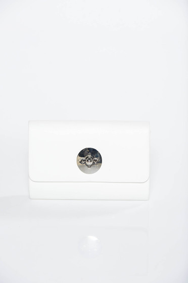 Geanta dama alba plic de ocazie din piele ecologica