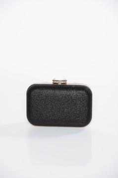 Geanta dama neagra plic de ocazie cu aspect metalic cu maner lung tip lantisor