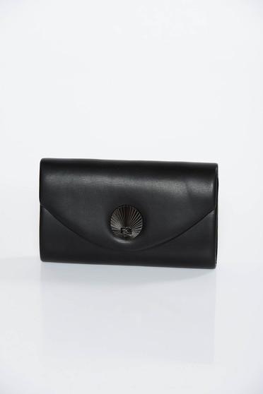 Geanta dama neagra plic din piele ecologica cu maner lung tip lantisor