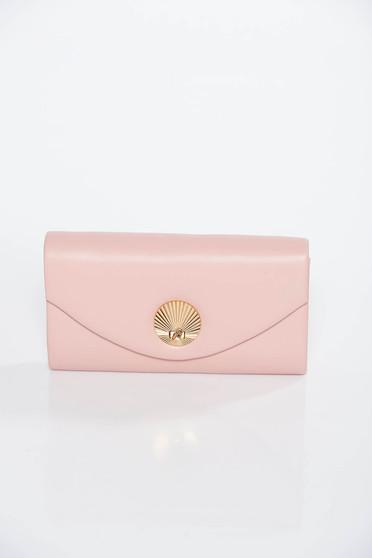 Geanta dama rosa plic din piele ecologica cu maner lung tip lantisor