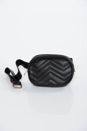 Geanta dama neagra casual tip borseta din piele ecologica cu accesoriu tip curea