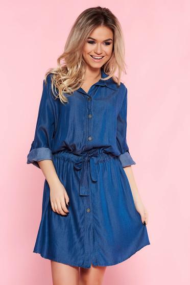 Rochie SunShine albastra casual cu croi larg din material vaporos accesorizata cu cordon