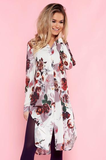 Rochie SunShine alba casual cu croi larg din material subtire cu imprimeuri florale