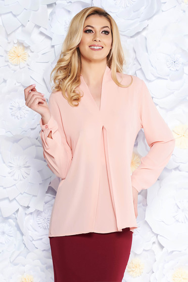 Bluza dama SunShine rosa eleganta cu croi larg din voal cu decolteu in v