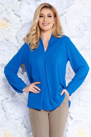 Bluza dama SunShine albastra eleganta cu croi larg din voal cu decolteu in v