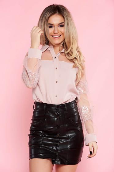 Camasa dama SunShine rosa eleganta cu croi larg din material neelastic cu maneci din dantela