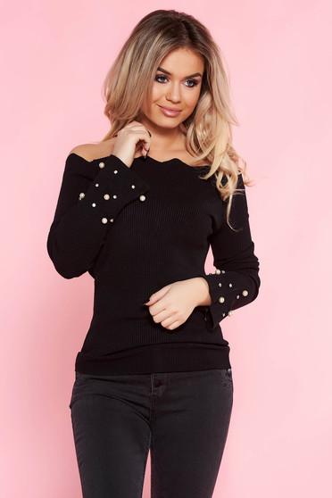 Pulover SunShine negru casual cu un croi mulat din material tricotat cu aplicatii cu perle
