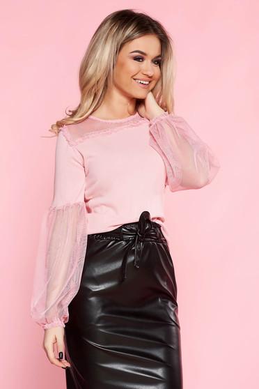 Bluza dama SunShine roz casual cu croi larg din material subtire cu maneci prinse in elastic