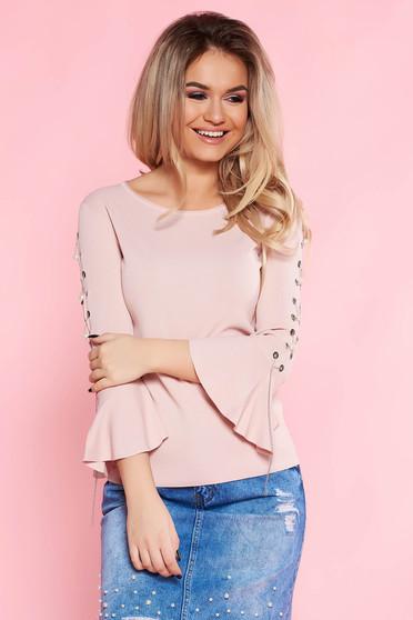Bluza dama SunShine rosa casual cu croi larg cu maneci clopot cu accesorii metalice si aplicatii cu perle