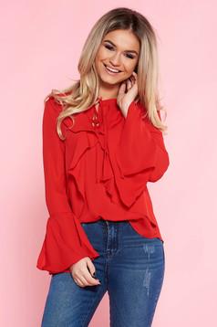 Bluza dama Top Secret rosie casual cu croi larg din voal cu maneci clopot si volanase