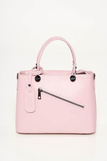 Geanta dama rosa office din piele naturala cu doua manere de lungime medie