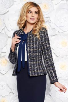 Sacou LaDonna albastru-inchis elegant cu un croi cambrat din lana captusit pe interior cu aplicatii cu paiete