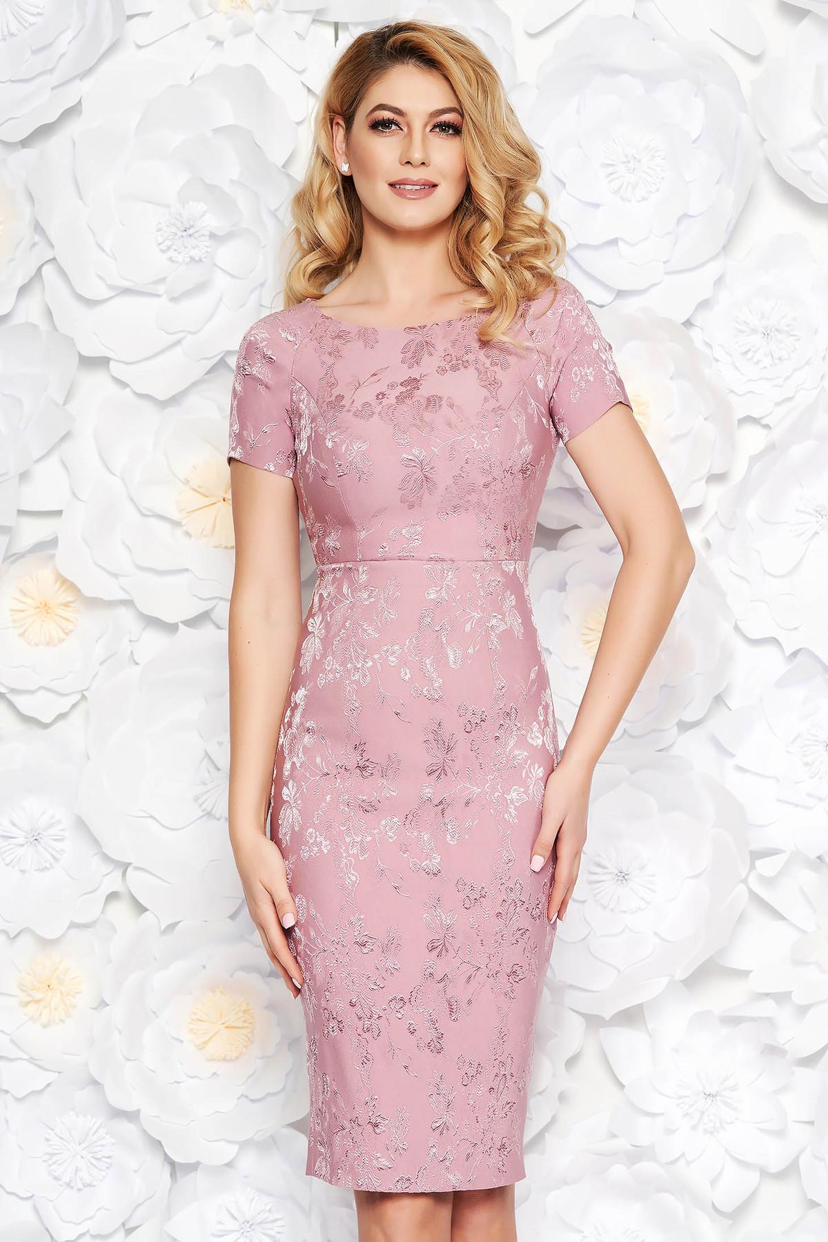 Rochie rosa de ocazie midi tip creion din jaquard captusita pe interior