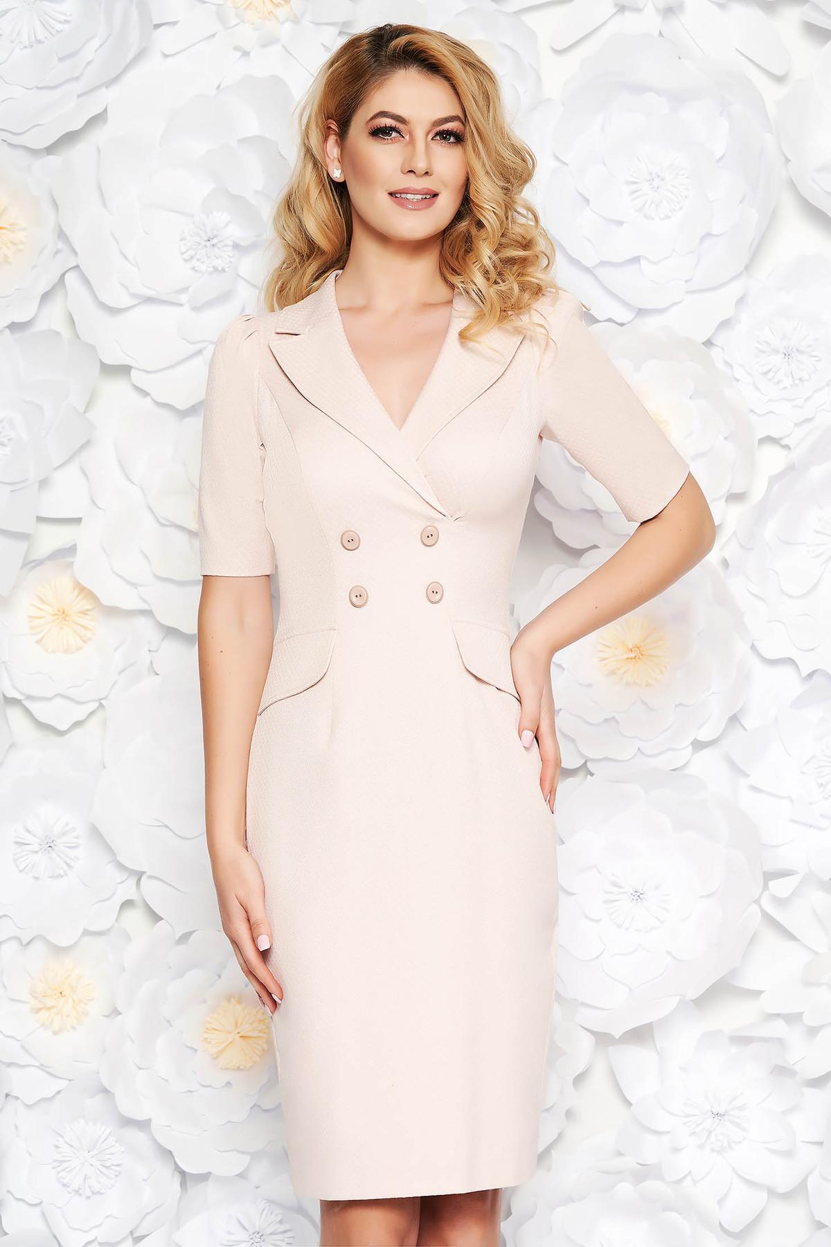 Rochie rosa eleganta midi tip creion din bumbac usor elastic captusita pe interior accesorizata cu nasturi