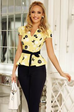 Bluza dama Fofy galbena office cu peplum din material usor elastic accesorizata cu cordon