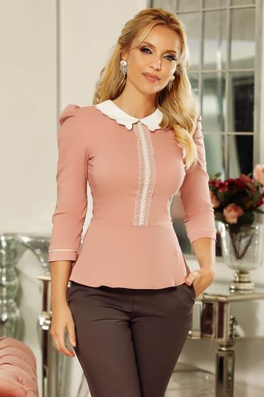 Camasa dama Fofy rosa office cu un croi mulat din bumbac usor elastic cu aplicatii de dantela cu perle