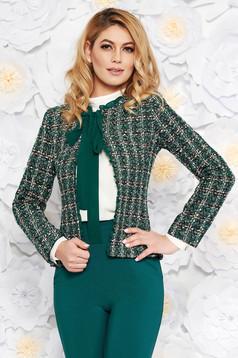 Sacou LaDonna verde elegant cu un croi cambrat din lana captusit pe interior cu aplicatii cu paiete