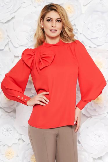 Bluza dama LaDonna corai eleganta cu croi larg din material vaporos captusita pe interior accesorizata cu o fundita