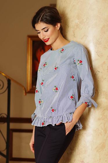 Bluza dama Artista albastra-inchis casual cu croi larg cu imprimeuri florale si volanase
