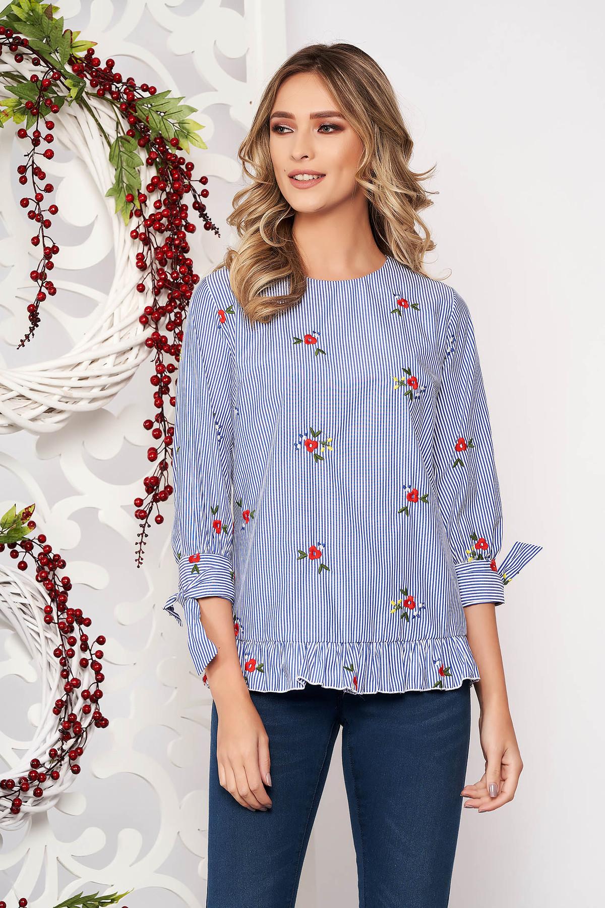 Bluza dama Artista albastru-inchis casual cu croi larg cu imprimeuri florale cu volanase
