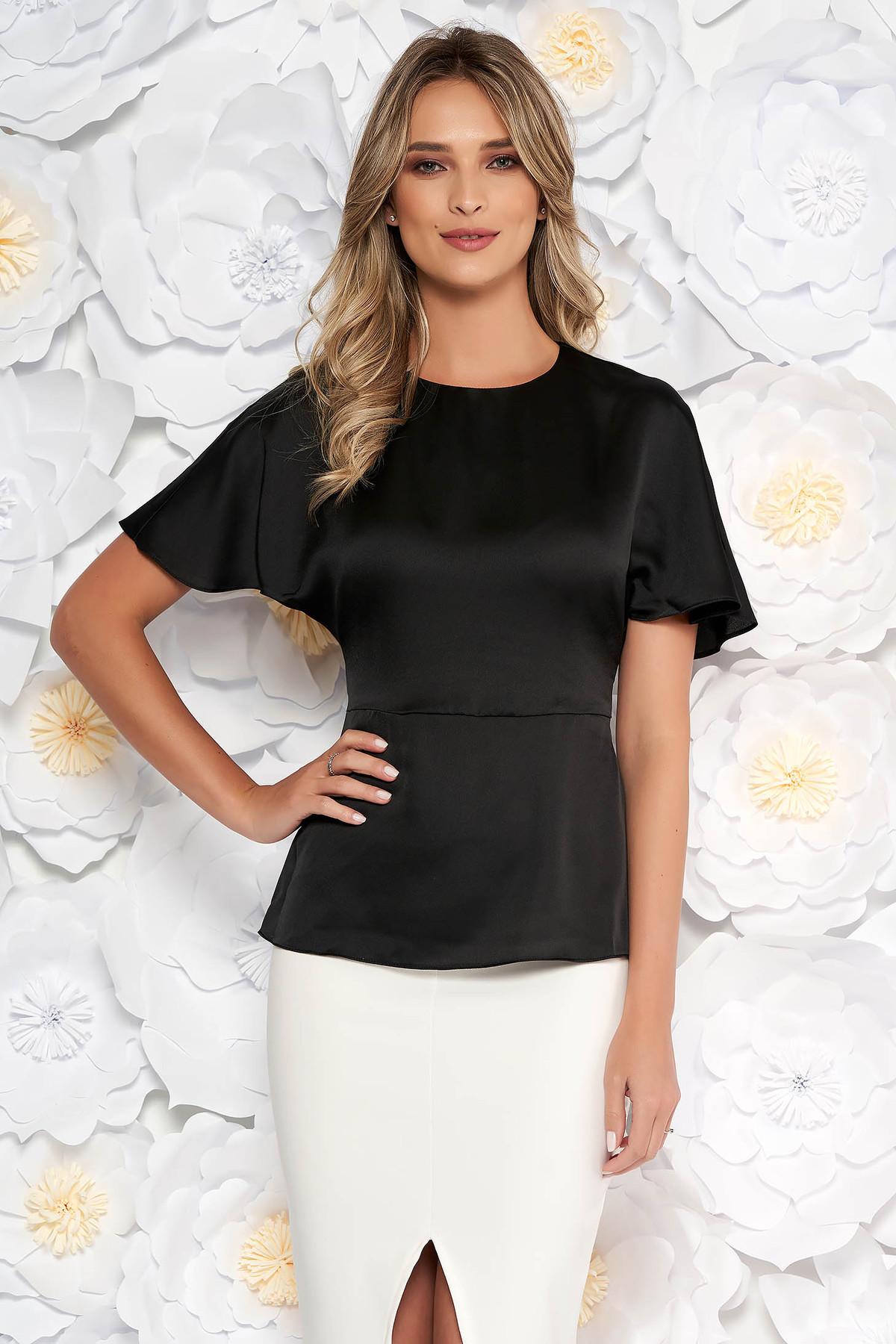 Bluza dama StarShinerS neagra eleganta din material satinat accesorizata cu cordon cu maneci scurte