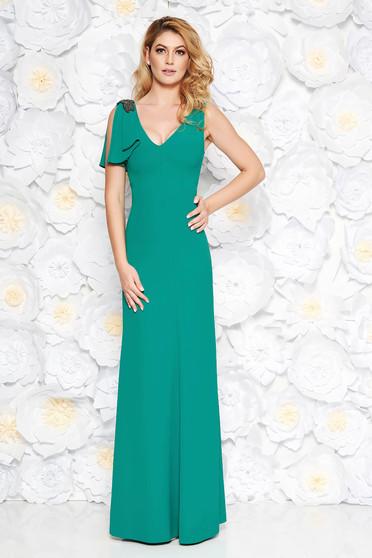 Rochie verde de ocazie lunga din material fin la atingere captusita pe interior cu aplicatii cu margele