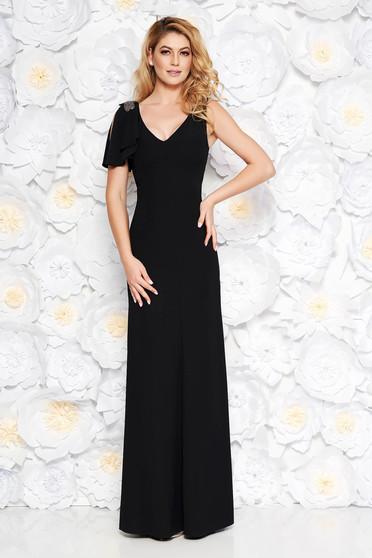 Rochie neagra de ocazie lunga din material fin la atingere captusita pe interior cu aplicatii cu margele