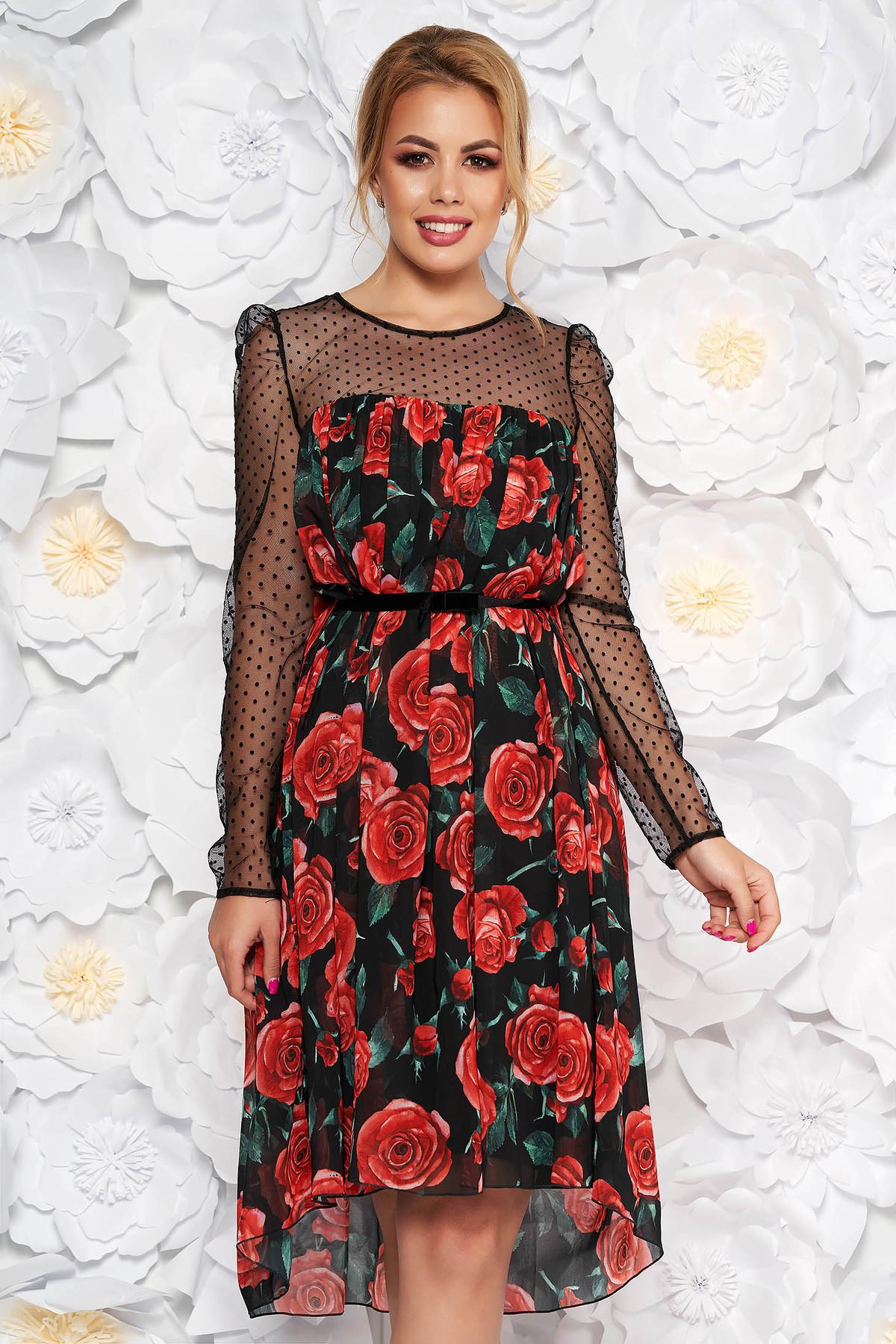 Rochie neagra de ocazie cu croi larg din voal captusita pe interior cu imprimeuri florale
