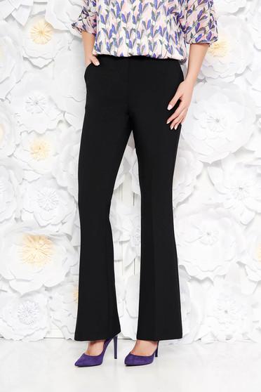 Pantaloni StarShinerS negri evazati cu talie medie din stofa usor elastica cu buzunare