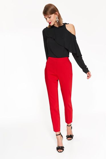 Pantaloni Top Secret rosii office conici cu talie medie din bumbac usor elastic cu buzunare