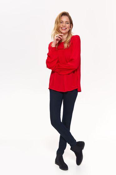Bluza dama Top Secret rosie cu maneca lunga cu croi larg din material vaporos