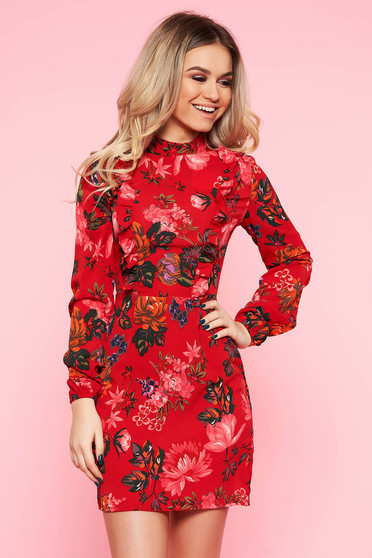 Rochie Top Secret rosie casual in clos cu volanase din material neelastic cu imprimeuri florale