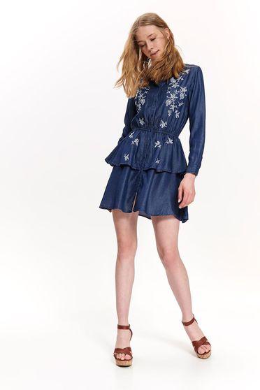 Rochie Top Secret albastra casual in clos cu elastic in talie din material vaporos cu insertii de broderie
