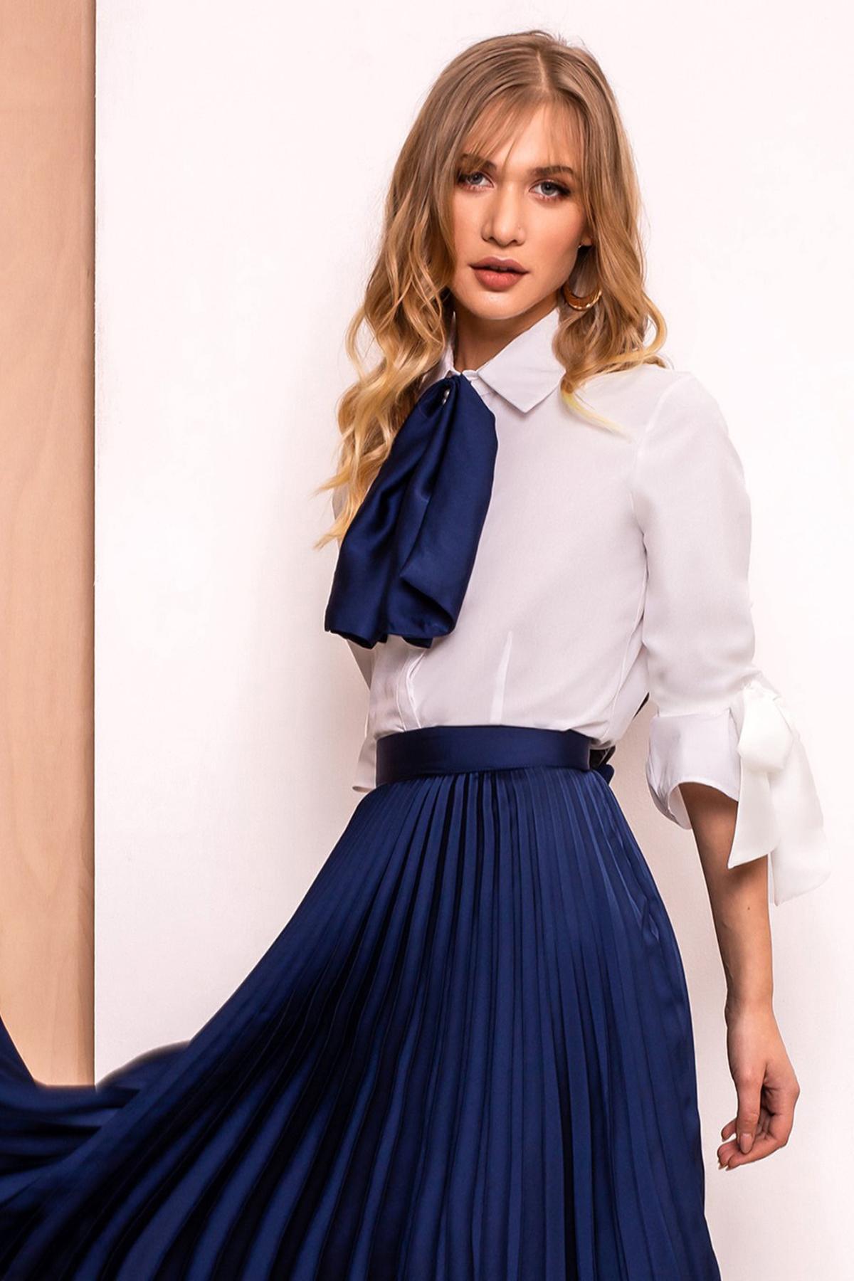 Camasa dama PrettyGirl albastra-inchis eleganta cu un croi mulat din material usor elastic cu maneci trei-sferturi