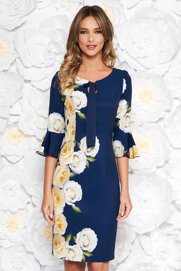 Rochie albastra-inchis eleganta midi tip creion din stofa subtire usor elastica captusita pe interior cu imprimeuri florale