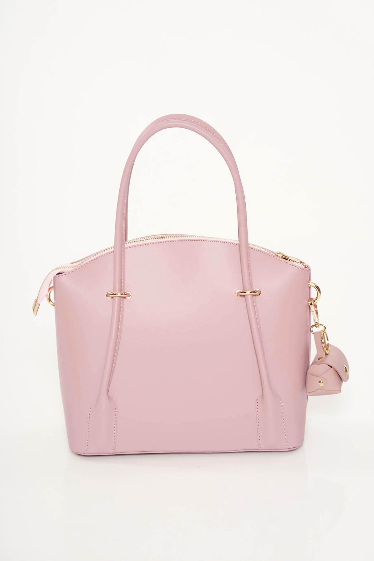 Geanta dama rosa office din piele naturala cu doua compartimente si buzunare interioare