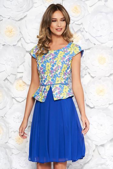 Rochie albastra eleganta in clos din jaquard si voal captusita pe interior cu peplum