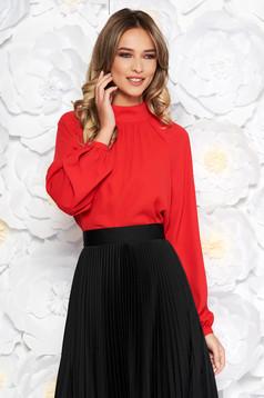 Bluza dama StarShinerS rosie eleganta cu croi larg din voal captusita pe interior cu maneci lungi