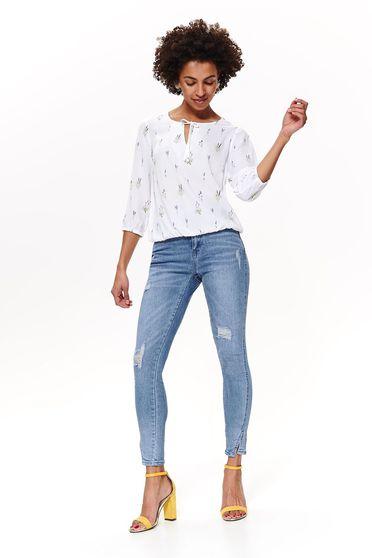 Bluza dama Top Secret alba casual cu croi larg din material vaporos cu elastic in talie