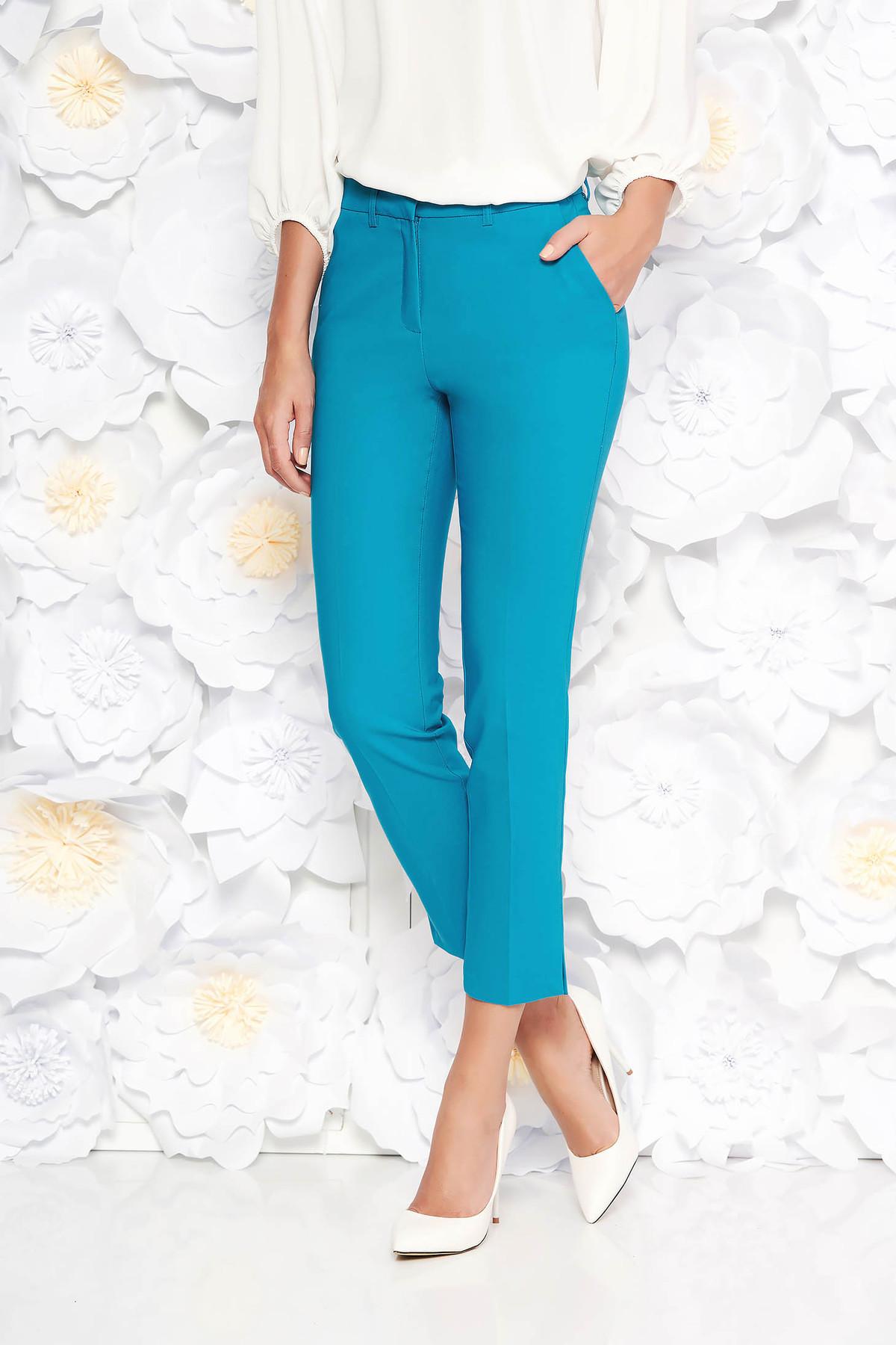 Pantaloni turcoaz eleganti cu talie medie din bumbac usor elastic