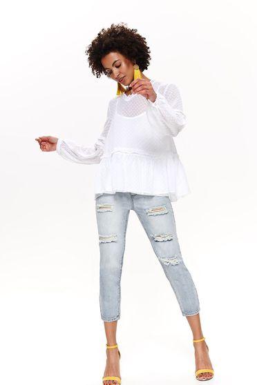 Bluza dama Top Secret alba casual cu croi larg din material transparent captusita pe interior cu decolteu in v
