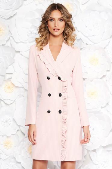 Rochie LaDonna rosa office tip sacou din stofa neelastica captusita pe interior cu buzunare