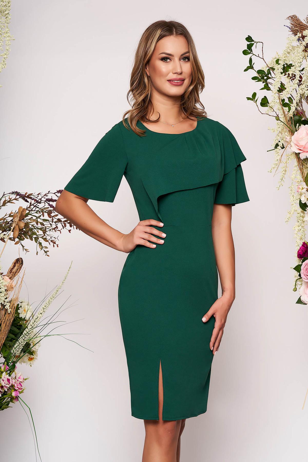 Rochie verde-inchis de zi tip creion din material elastic cu un croi mulat cu maneca scurta