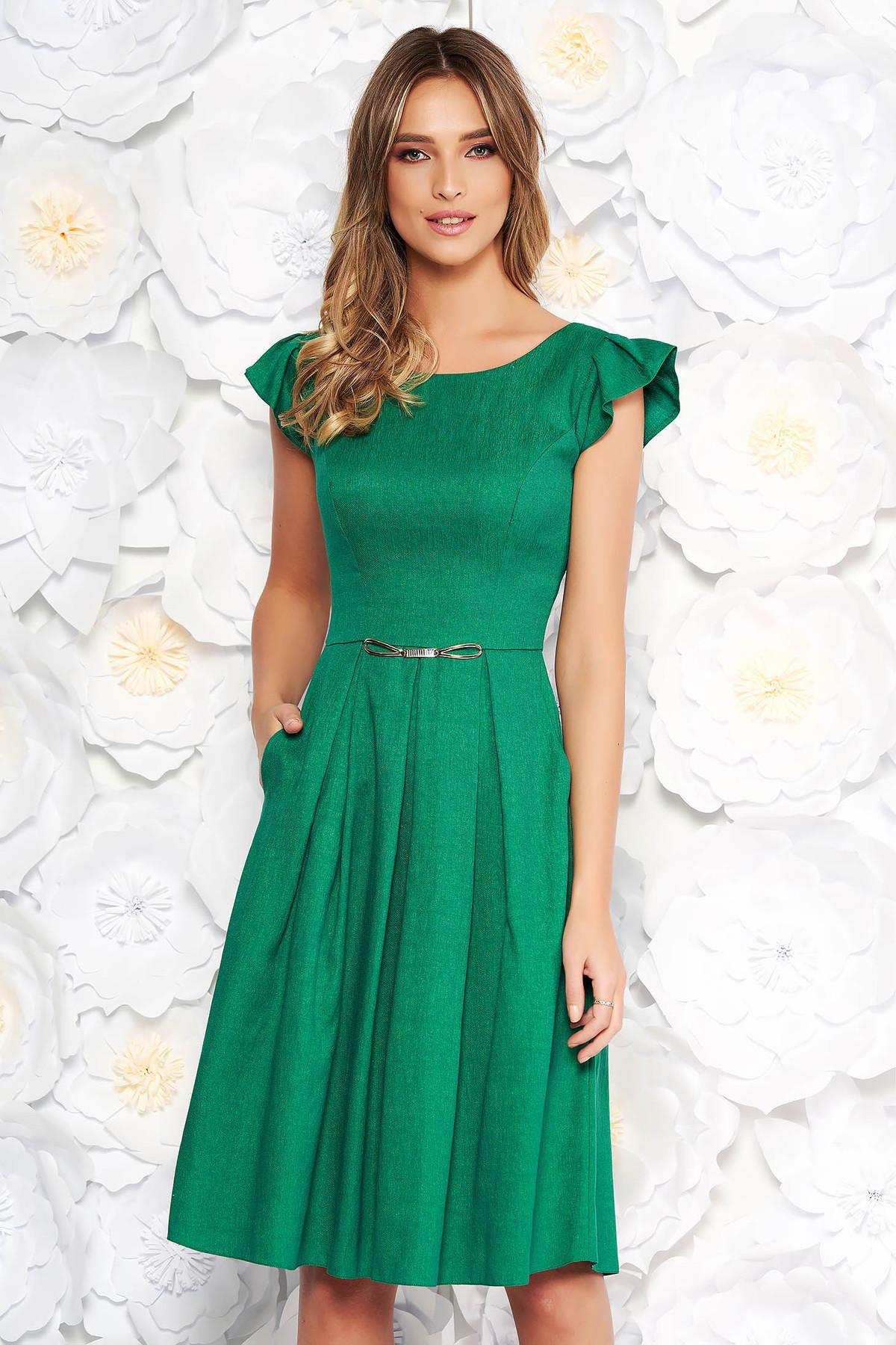 Rochie verde de zi in clos din stofa neelastica cu buzunare cu maneci scurte